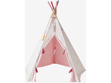 """Wendbares Spielzelt """"Indianermädchen"""", Tipi mit Holzgestell, FSC® rosa/wollweiß bedruckt"""