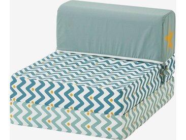 Kinder Sessel mit Schlaffunktion blau zickzack
