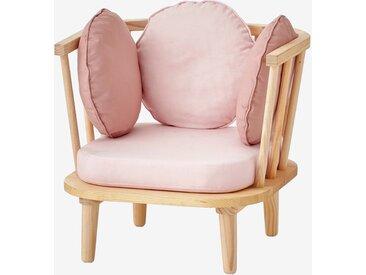 Retro-Sessel für Kinderzimmer rosa/natur