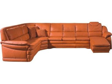 Himolla WOHNLANDSCHAFT Orange Echtleder , Leder, 8-Sitzer, 251 cm