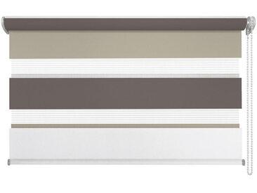 XXXLutz DUOROLLO halbtransparent 140/160 cm , Weiß, Braun, Streifen, 140x160 cm