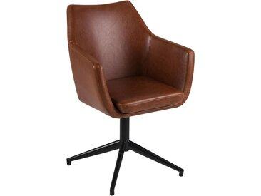 Carryhome ARMLEHNSTUHL Lederlook Braun , Metall, 58x85.5x56.5 cm