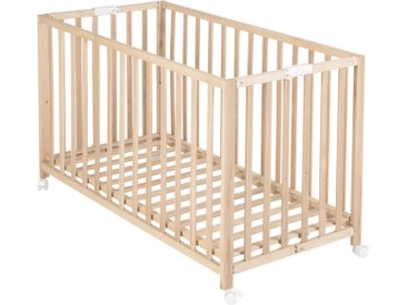 Roba Baby Klappbett Fold Up Buche massiv Braun , Holz, 60x120 cm