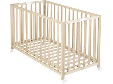 Roba Baby Klappbett Fold Up Buche massiv Braun , Holz, 60 cm
