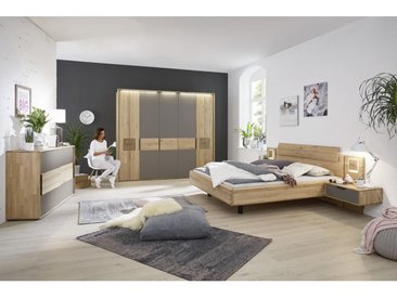 Valnatura SCHLAFZIMMER Grau, Braun , Holz, Glas, Wildeiche, furniert, massiv, 180 cm