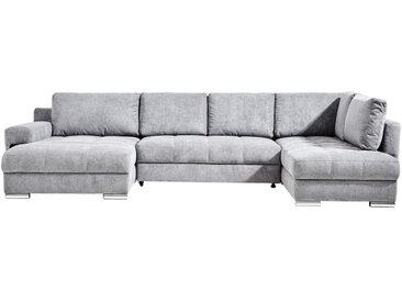 Hom`in WOHNLANDSCHAFT Grau Mikrofaser , 6-Sitzer, 212 cm