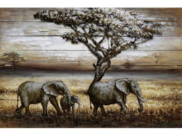 Monee METALLBILD Tiere , Mehrfarbig, Holz, Metall, Tanne, massiv, 120x80 cm