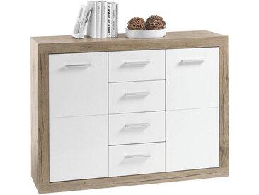 Livetastic KOMMODE Weiß, Braun , 2 Fächer, 117x88x37 cm