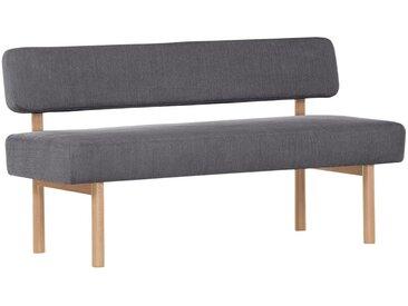 Livetastic SITZBANK Flachgewebe Buche massiv Grau , Holz, Uni, 2-Sitzer, 160x87x58 cm