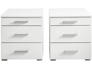 Ti`me NACHTKÄSTCHENSET Weiß , Kunststoff, 47x52x42 cm