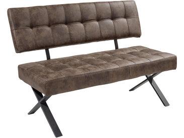 Carryhome SITZBANK Lederlook Braun , Vintage, 3-Sitzer, 140x93x61 cm