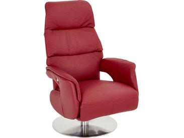 Welnova RELAXSESSEL Echtleder Relaxfunktion , Rot, Silber, Metall, Leder, 72x110x79 cm