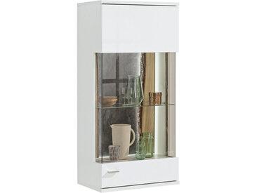 SetOne by Musterring HÄNGEVITRINE Eiche massiv Weiß, Braun, braun , Weiß, Eiche, Schiefer, Glas, 3 Fächer, 60.1x126.4x37.2 cm