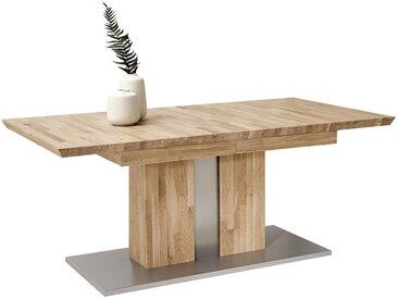 Cantus ESSTISCH Eiche massiv rechteckig Grau, Braun , Silber, Eiche, Holz, 100x76 cm