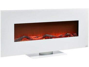 Xora ELEKTROKAMIN Metall, Glas , Weiß, 128x55x14 cm