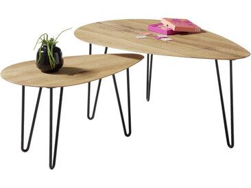 MID.YOU COUCHTISCH Eiche massiv oval Schwarz, Braun , Holz, Metall, 97x42 cm