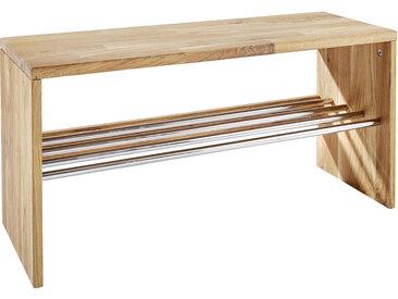 Linea Beigea SCHUHREGAL Wildeiche massiv Braun , Holz, Metall, 81x40x30 cm