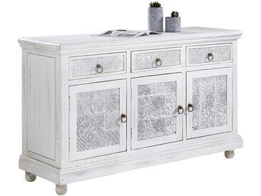 Carryhome KOMMODE Mangoholz massiv, Schichtholz Weiß , 3 Fächer, 145x85x45 cm