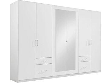 MID.YOU KLEIDERSCHRANK 6-türig Weiß , 3 Fächer, 270x210x58 cm