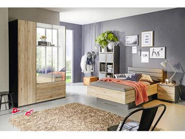 Xora JUGENDZIMMER Grau, Braun , Graphit, Eiche, Glas, 3 Fächer, 120 cm