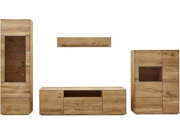 Voleo WOHNWAND Eiche massiv Braun , Holz, Glas, 13 Fächer, 350x201x48 cm