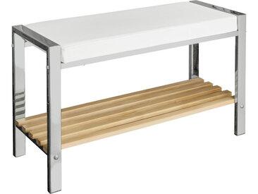 XXXLutz BADHOCKER, Weiß, Kiefer, Chrom, Holz, Metall, Kiefer, 80x48x31 cm