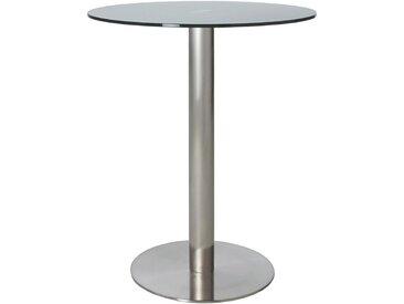 Dieter Knoll BARTISCH rund Grau, Silber , Metall, Glas, 65x105 cm