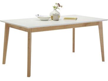 Hom`in ESSTISCH Eiche rechteckig Weiß, Braun , Holz, massiv, 90x75 cm