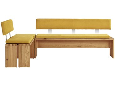 Musterring ECKBANK Wildeiche massiv Geld, Braun , Holz, Metall, 5-Sitzer, 145 cm