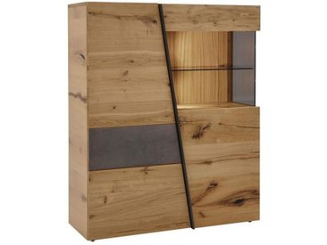 Voglauer: Highboard, Holz, Glas,Wildeiche, Grau, Eiche, B/H/T 112 138 42