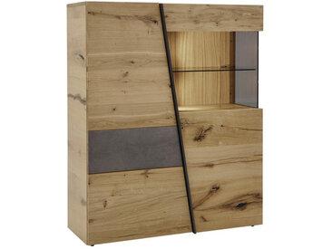 Voglauer HIGHBOARD Wildeiche furniert Grau, Braun , Holz, Glas, 2 Fächer, 112x138x42 cm