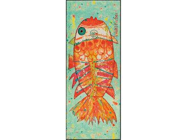 Esposa FUßMATTE 75/190 cm Abstraktes Grün, Mehrfarbig , Grün, Mehrfarbig, Orange, 75 cm