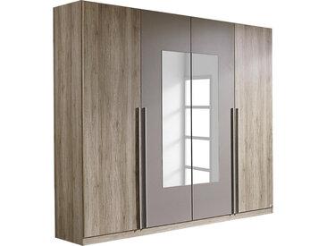 Carryhome DREHTÜRENSCHRANK 4-türig Braun , Eiche, Grau, 2 Fächer, 226x210x54 cm