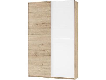 Carryhome MEHRZWECKSCHRANK Weiß, Braun , 6 Fächer, 125x196x38 cm