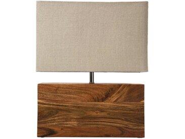 Kare-Design TISCHLEUCHTE , Beige, Holz, Metall, massiv, 33x43x10 cm