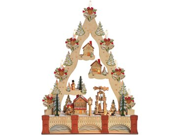 X-Mas LICHTERBOGEN Mehrfarbig, Beige , Holz, Kiefer, Linde, Winterlandschaft, 44x61x11 cm