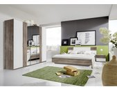 Carryhome SCHLAFZIMMER , Weiß, Eiche , Glas , 3 Fächer , 180x200 cm , Beimöbel erhältlich, umfangreiches Zubehör erhältlich,Typenauswahl , Schlafzimmer, Komplette Schlafzimmer