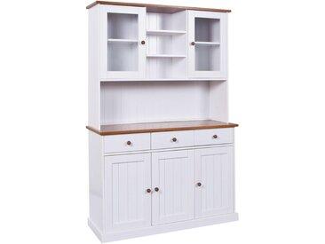 Livetastic BUFFET Kiefer massiv Weiß , Holz, massiv, 3 Fächer, 131x191x45 cm