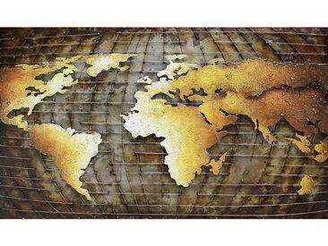 Monee METALLBILD Weltkarte , Mehrfarbig, Metall, 120x70 cm