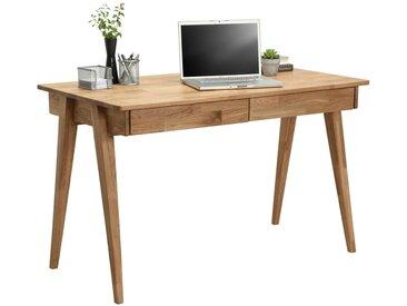 Linea Beigea SCHREIBTISCH Wildeiche massiv Braun , Holz, 120x76x65 cm