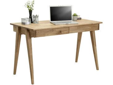 Linea Beigea SCHREIBTISCH Wildeiche massiv Braun , Holz, 65x76 cm