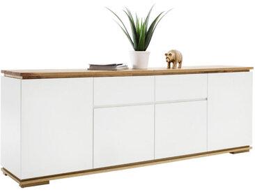 XXXLutz SIDEBOARD Asteiche, Eiche massiv Weiß, Braun , 4 Fächer, 182x81x40 cm