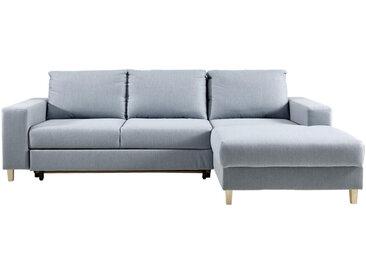 Ti`me WOHNLANDSCHAFT Blau Webstoff , Buche, massiv, Uni, 4-Sitzer, 160 cm