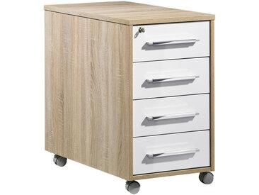 XXXLutz ROLLCONTAINER Weiß, Braun , Kunststoff, 43x75x80 cm
