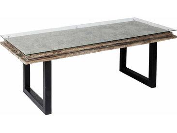 Kare-Design ESSTISCH Mangoholz massiv rechteckig , Holz, Glas, 90x78 cm