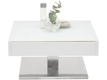 Xora COUCHTISCH quadratisch Weiß, Silber , Metall, Glas, 75x38 cm