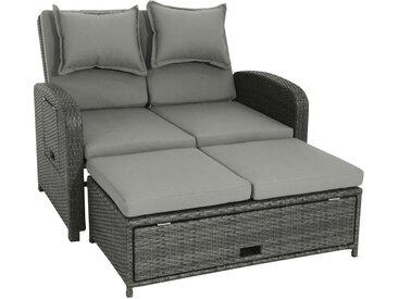 Ambia Garden LOUNGESOFA Kunststoffgeflecht Stahl , Grau, Metall, Kunststoff, 2-Sitzer, 117x88x74 cm