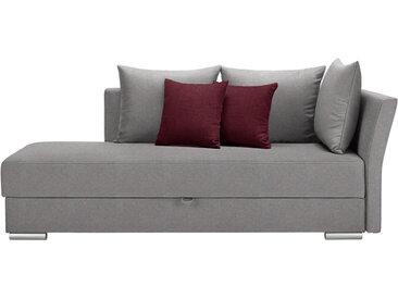 Livetastic LIEGE Webstoff Rot, Grau , Uni, 4-Sitzer, 220x93x100 cm