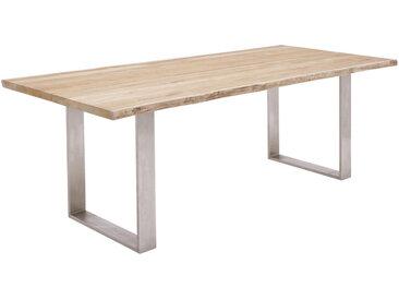 XXXLutz GARTENTISCH Metall Grau, Braun , Silber, Teak, Recyclingholz, Teakholz, massiv, 95x76 cm