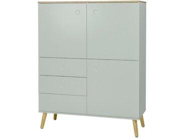 XXXLutz HIGHBOARD Braun, Pastellgrün , Eiche, Pastellgrün, furniert,massiv, 3 Fächer, 109x137x43 cm